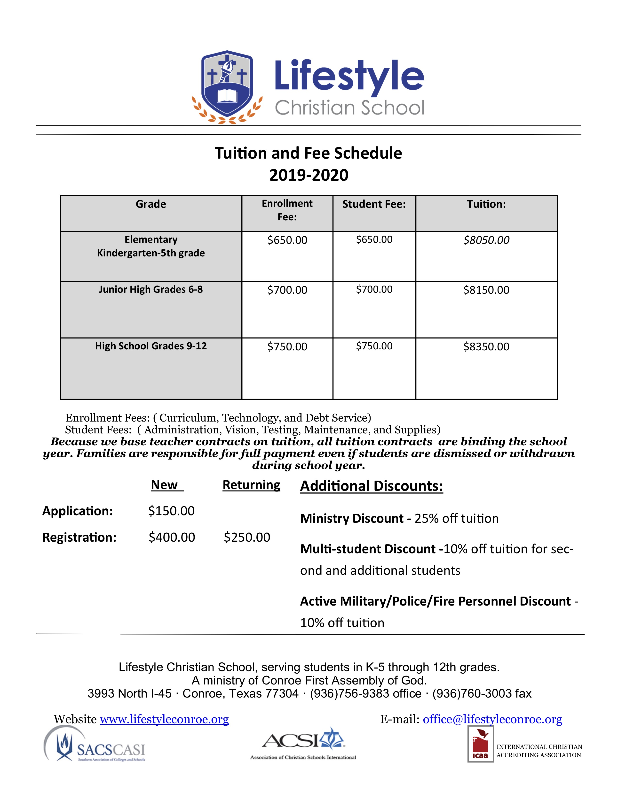 2019-20 LCS Tuition & Fee Schedule