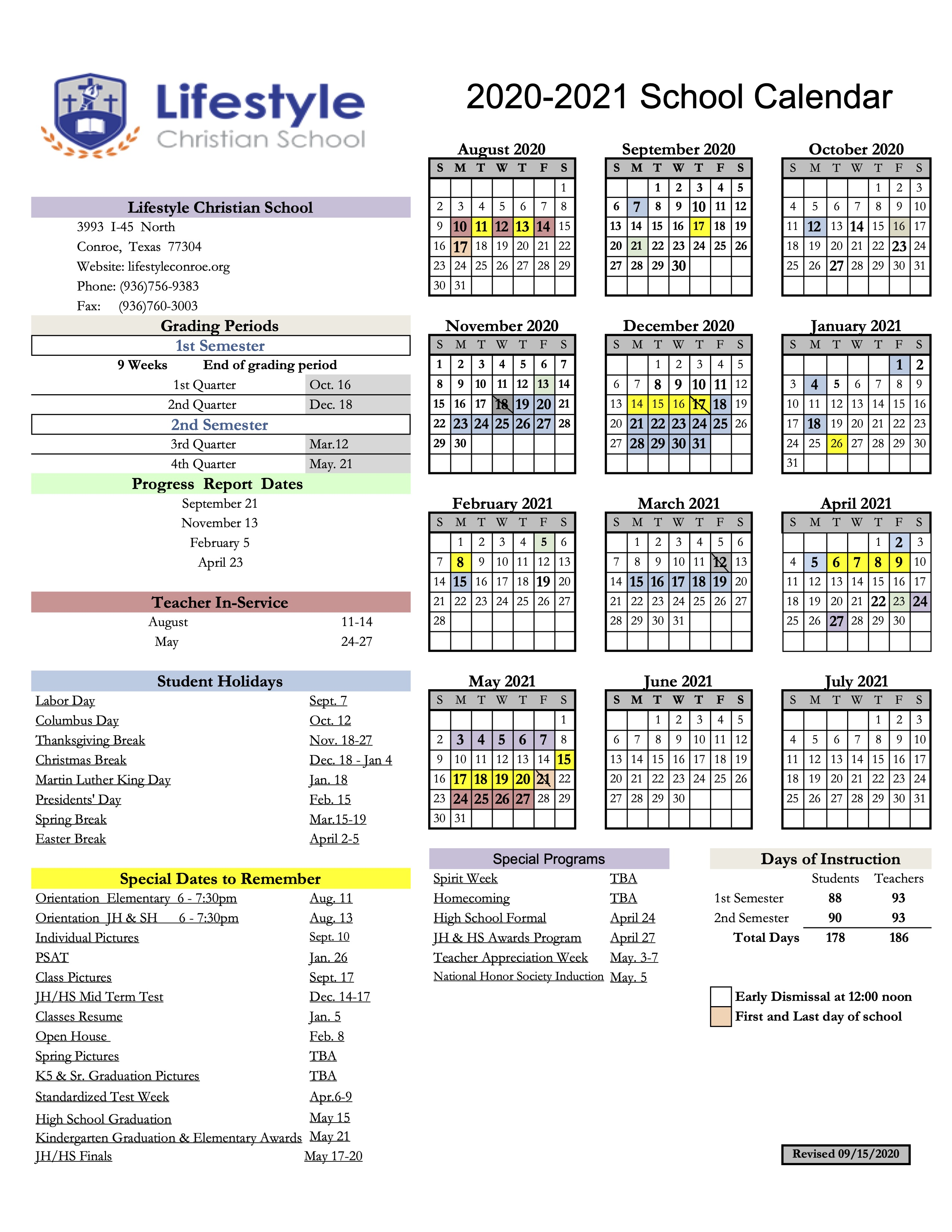 LCS Academic Calendar 202-21 REVISED 9-15
