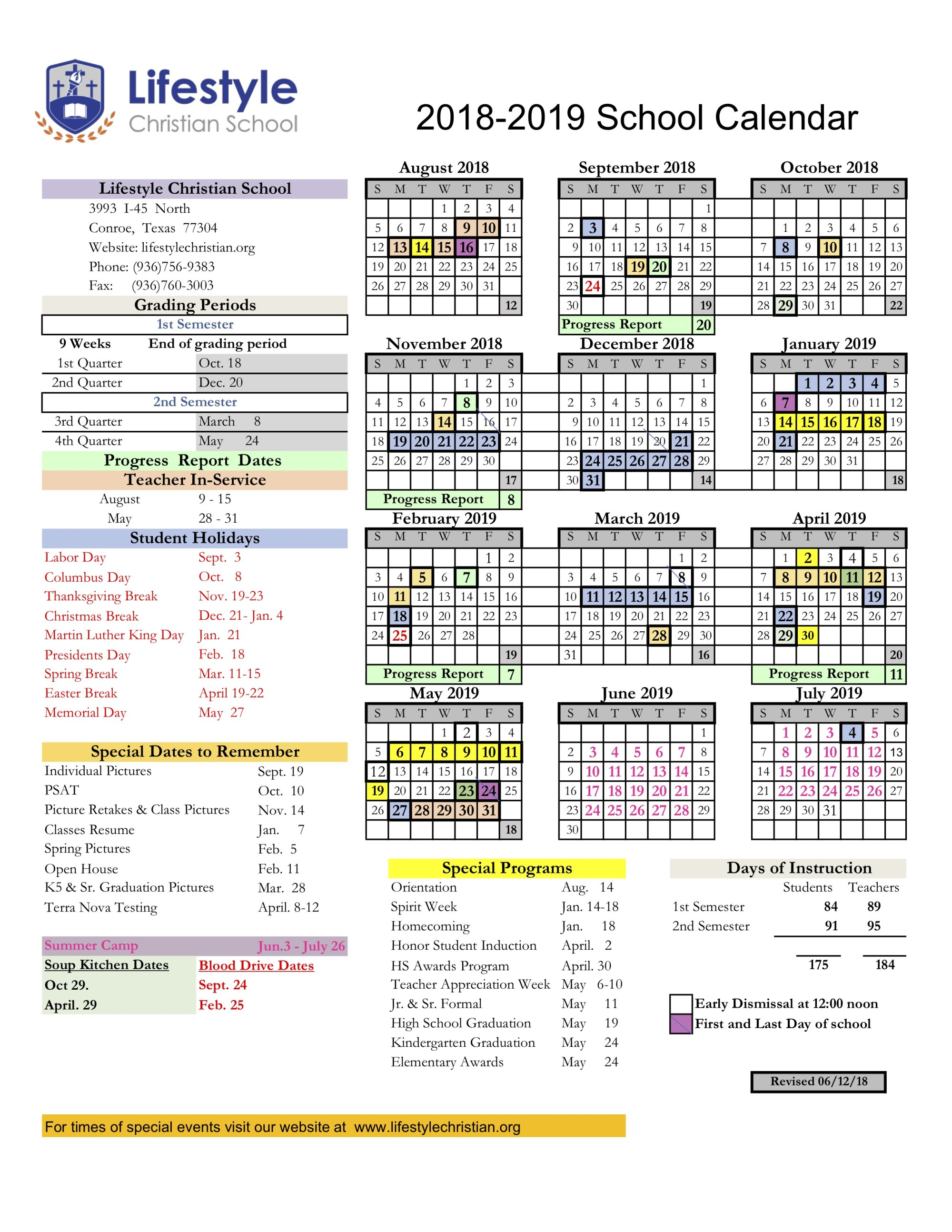 LCS Academic Calendar for 2018-19