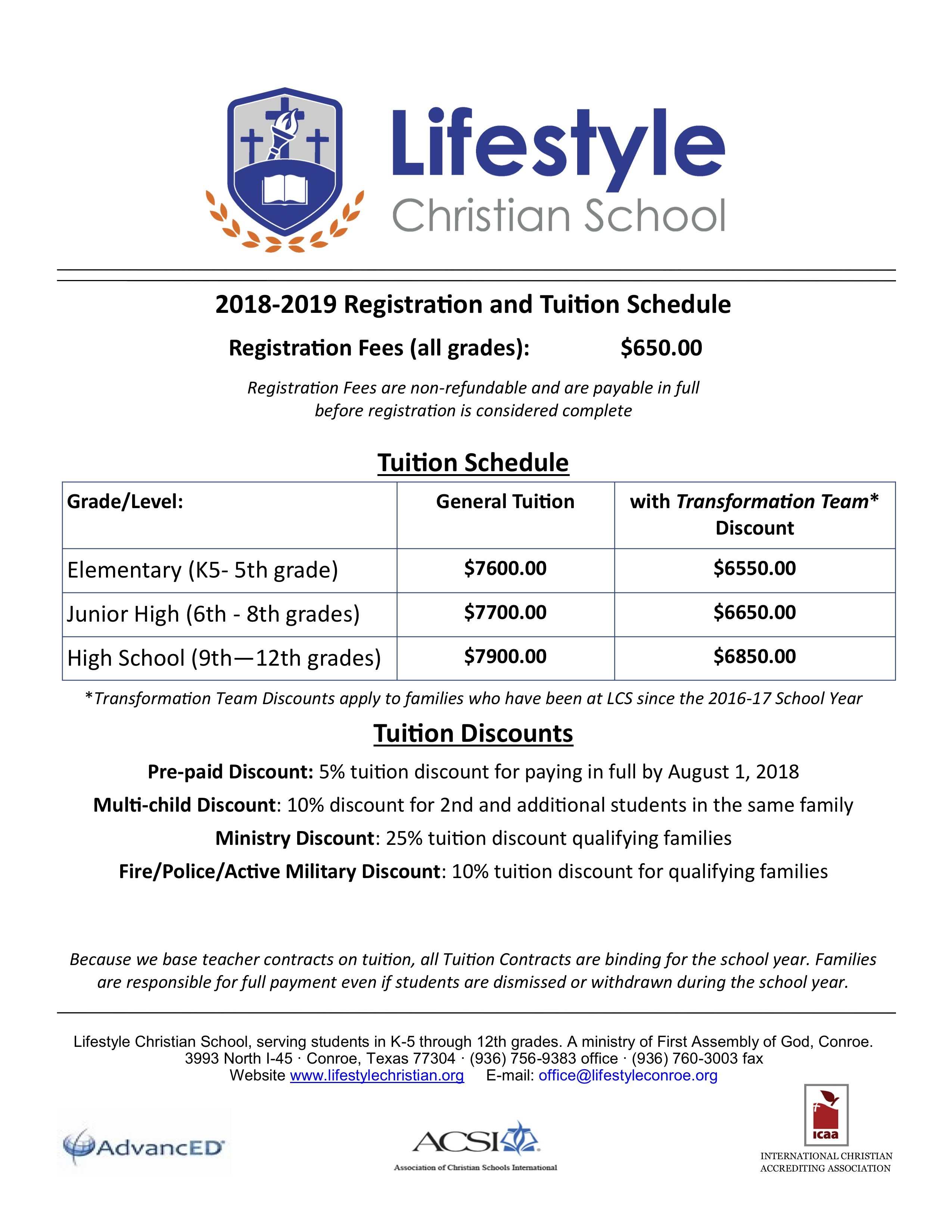 LCS Tuition & Fee Schedule 2018-19